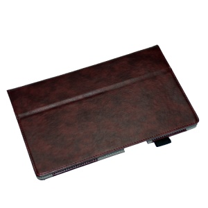 Coffee PU Leather Stand Cover for Sony Xperia Z2 Tablet 10.1 inch w/ Elastic Band