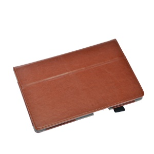 Brown PU Leather Case w/ Stand for Sony Xperia Z2 Tablet 10.1 inch w/ Elastic Band