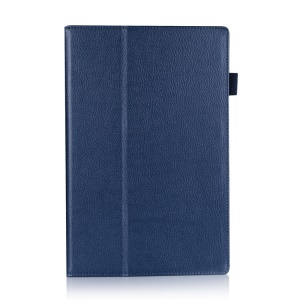 Blue Litchi Skin PU Leather Cover w/ Stand for Sony Xperia Z2 Tablet 10.1 inch
