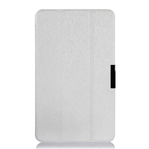 White Silk Texture Tri-fold Leather Stand Cover for Lenovo ThinkPad 8 8.3-inch Windows 8