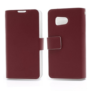 Doormoon Wallet Style Genuine Leather Phone Case for Huawei Ascend Y300 U8833 - Red