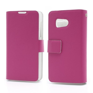 Doormoon Wallet Style Genuine Leather Phone Case for Huawei Ascend Y300 U8833 - Rose