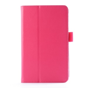For LG G Pad 7.0 V400 Lychee Texture PU Leather Folio Case Stand  - Rose