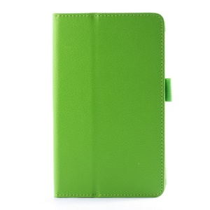 For LG G Pad 7.0 V400 Lychee Texture Folio Stand PU Leather Shell - Green