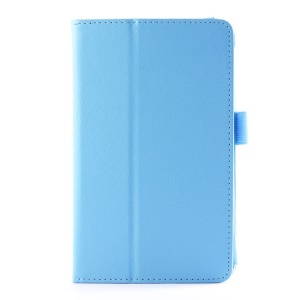 Lychee Texture Folio Stand Leather Case for LG G Pad 7.0 V400 - Light Blue
