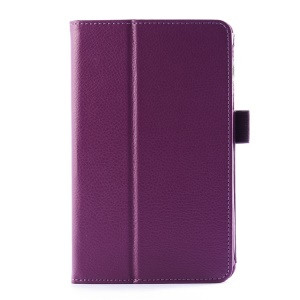 Lychee Texture Folio Stand Leather Tablet Case for LG G Pad 7.0 V400 - Purple