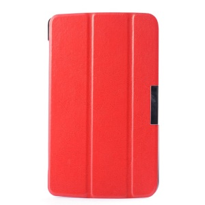 For LG G Pad 7.0 V400 Crazy Horse Tri-fold Stand PU Leather Skin Case - Red