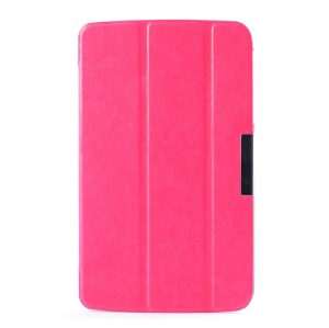 For LG G Pad 7.0 V400 Crazy Horse Tri-fold Leather Stand Cover - Rose
