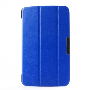 Crazy Horse Tri-fold Stand Leather Cover for LG G Pad 7.0 V400 - Deep Blue
