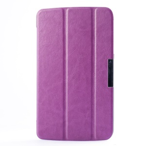 Crazy Horse Tri-fold Stand Leather Flip Case for LG G Pad 7.0 V400 - Purple