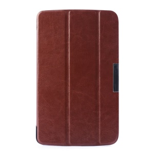 Crazy Horse Tri-fold Stand Leather Flip Cover for LG G Pad 7.0 V400 - Brown