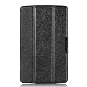 Black for LG G Pad 7.0 V400 Silk Texture Tri-fold Stand Leather Skin Case