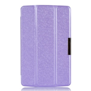 Purple Silk Texture Tri-fold Stand Leather Flip Shell for LG G Pad 7.0 V400
