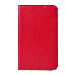 Red for LG G Pad 7.0 V400 Rotary Stand Litchi Grain PU Leather Case