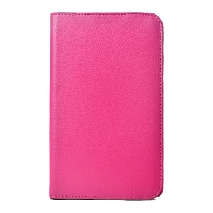 Rose for LG G Pad 7.0 V400 Rotating Stand Litchi Grain Leather Cover