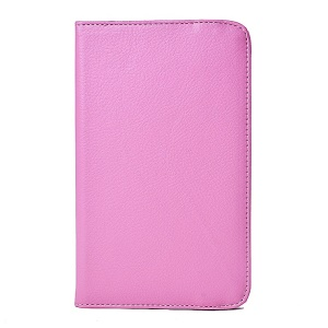 Pink Rotating Stand Litchi Grain Leather Cover for LG G Pad 7.0 V400