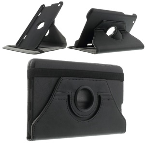 Black Litchi Skin Leather Case w/ 360 Degree Rotating Stand & Elastic Band for LG G Pad 8.3 V500