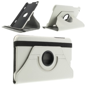 White Litchi Skin Leather Cover w/ 360 Degree Rotating Stand & Elastic Band for LG G Pad 8.3 V500