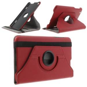 Red Litchi Skin 360 Degree Rotating Stand Leather Case for LG G Pad 8.3 V500 w/ Elastic Band