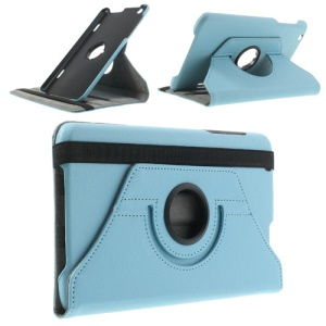 Baby Blue Litchi Skin 360 Degree Rotating Leather Stand Case for LG G Pad 8.3 V500 w/ Elastic Band