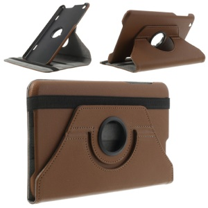 Brown Litchi Skin 360 Degree Rotating Leather Stand Cover for LG G Pad 8.3 V500 w/ Elastic Band