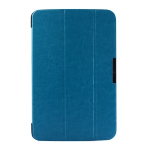 Crazy Horse Pattern for LG G Pad 10.1 V700 WiFi Tri-fold Smart PU Leather Cover - Light Blue