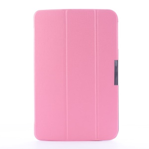 Crackled Texture Tri-fold Stand Smart Leather Flip Cover for LG G Pad 10.1 V700 WiFi - Pink
