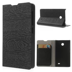 Black Tree Bark Texure Leather Flip Case for Nokia X A110 Dual SIM / X plus Dual SIM with Card Slots