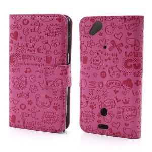 Rose Cute Cartoon Graffiti Leather Stand Shell for Sony Ericsson Xperia Arc(X12) / Arc S LT18i