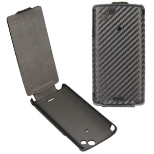 Carbon Fiber Vertical Leather Sleeve Case for Sony Ericsson X12/Anzu/ XPERIA Arc / Arc S LT18i
