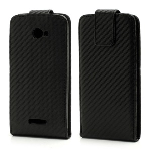 Vertical Carbon Fiber Leather Case Cover for HTC Droid DNA X920e