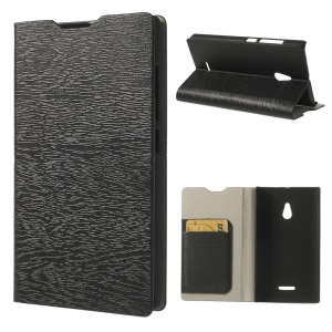 Black Tree Bark Texure PU Leather Case for Nokia XL w/ Stand & Card Slots