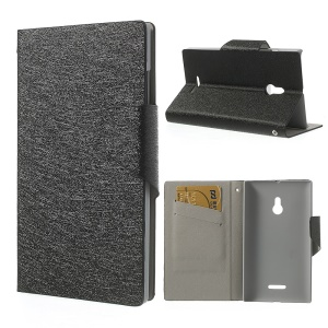 Black Magnetic Silk Texture Leather Flip Cover w/ Card Slots & Stand for Nokia XL Dual SIM RM-1042 SRM-1030