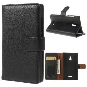 Black Litchi Skin Leather Wallet Case w/ Stand for Nokia XL Dual SIM RM-1042 SRM-1030