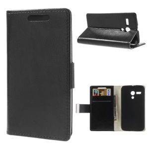 Crazy Horse Wallet Leather Stand Case for Motorola Moto G DVX XT1032 - Black