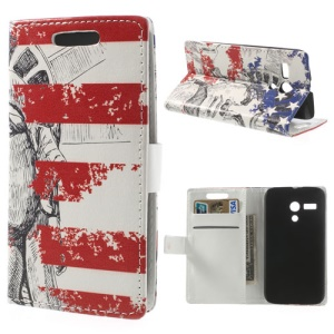 Statue of Liberty Stripes Leather Wallet Case w/ Stand for Motorola Moto G DVX XT1032