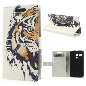 Fierce Tiger Leather Wallet Cover w/ Stand for Motorola Moto G DVX XT1032