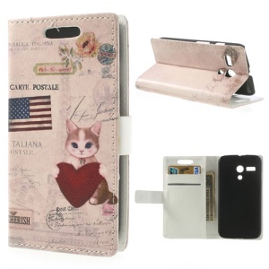 Charming Cat & USA American Flag Wallet Leather Stand Cover for Motorola Moto G DVX XT1032