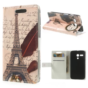 Eiffel Tower Leather Card Holder Case w/ Stand for Motorola Moto G DVX XT1032