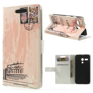 Famous Big Ben Leather Card Holder Cover w/ Stand for Motorola Moto G DVX XT1032