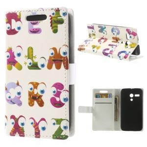 Cartoon Alphabet Leather Protective Cover w/ Stand for Motorola Moto G DVX XT1032