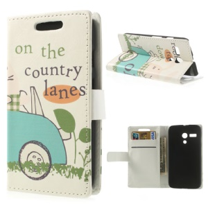 On The Country Lanes Magnetic Leather Protective Cover w/ Stand for Motorola Moto G DVX XT1032