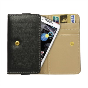 Noble Leather Wallet Pouch Case for Motorola RAZR HD XT925 / XT926 / XT910 / XT928 / MT917 - Black