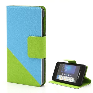 Two-color Wallet PU Leather Magnetic Case Cover Stand for BlackBerry Z10 BB 10 - Blue / Green