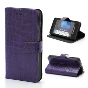 Fashionable Sleek Crocodile Leather Folio Wallet Case with Stand for BlackBerry Z10 BB 10 - Purple
