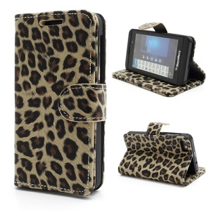 Folio Leopard BlackBerry Z10 Leather Wallet Case Cover w/ Card Slots - Beige
