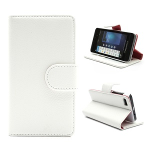Lychee Leather Card Wallet Case Stand for BlackBerry Z10 BB 10 - Red / White