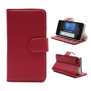 Lychee Leather Card Wallet Case Stand for BlackBerry Z10 BB 10 - White / Red