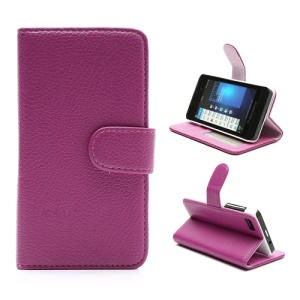 Lychee Leather Card Wallet Case Stand for BlackBerry Z10 BB 10 - Pink / Rose