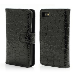 Crocodile Textured Folio Card Wallet Leather Case for BlackBerry Z10 BB 10 - Black